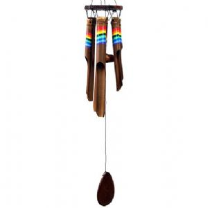 Windchime~ Handmade Bamboo Windchime with Vivid Rainbow Painting~ By Folio Gothic Hippy